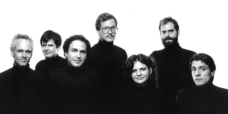 Resident Playwrights, 1981: Jonathan Reynolds, Christopher Durang, James Lapine, Ted Tally, Wendy Wasserstein, William Finn, Albert Innaurato. Photo by Jack Mitchell.