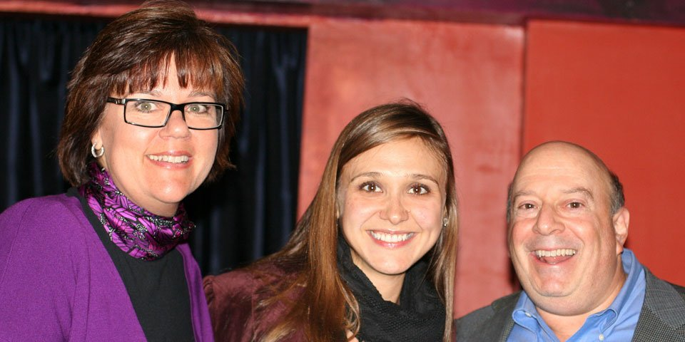 Patrons Sandy and Mitch Sockett join actress Sarah Sokolovic at a Patron Event