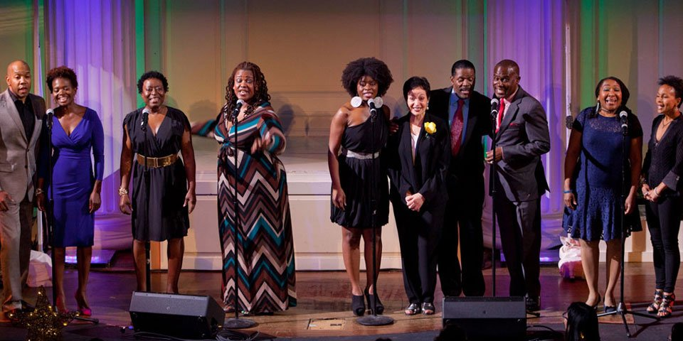 "Members of the original cast of ONCE ON THIS ISLAND sing ""Why We Tell The Story"" with lyricist Lynn Ahrens at the 2013 Playwrights Horizons Gala."