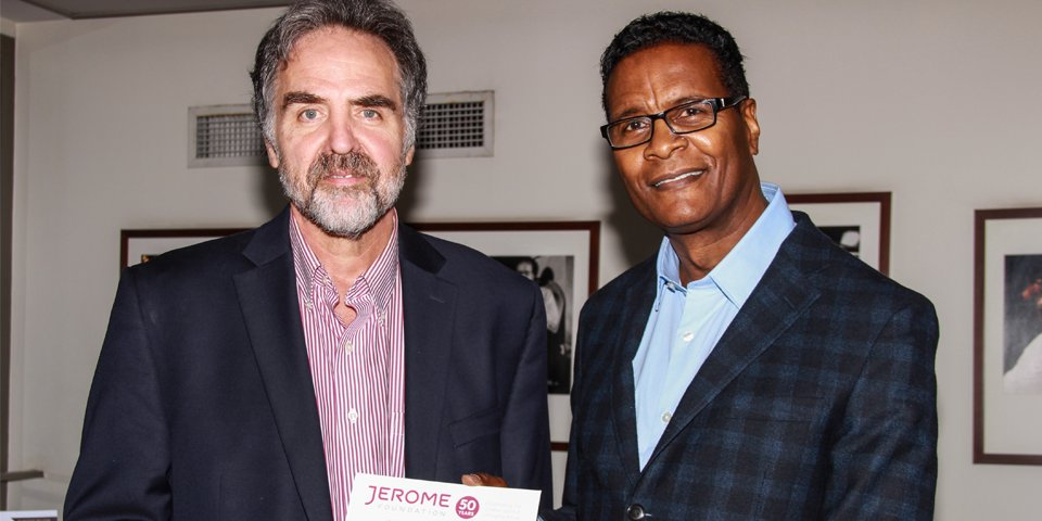 Artistic Director Tim Sanford and Jerome Foundation Program Director Robert Byrd celebrate the Jerome Foundation's 50th Anniversary, including 37 years of funding Playwrights Horizons.