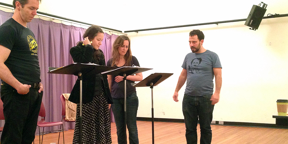 Reading of Jerry Lieblich's 'D Deb Debbie Deborah'. Photo of Paul Niebanck, Brooke Bloom, Birgit Huppoch, and director Oliver Butler.