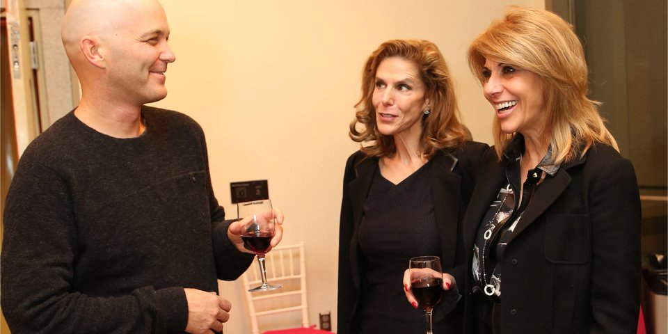 Playwright Taylor Mac with Patron Vivian Cardia and her guest Angie Pecora (photo by Kathy Valentine).