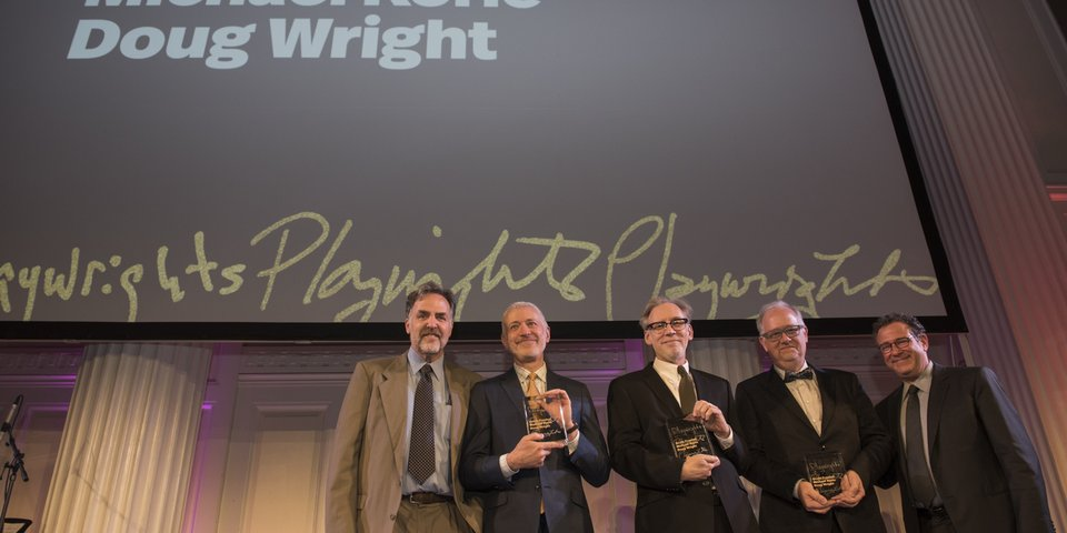 Playwrights Horizons Artistic Director, Tim Sanford, Honorees, Scott Frankel, Michael Korie and Doug Wright and Special Guest Michael Greif.