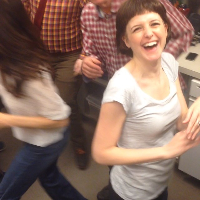 This is how we do pre show prep at Playwrights. Dance party in the laundry room before we say goodbye to our beautiful play. #stagekiss #dancing @phnyc