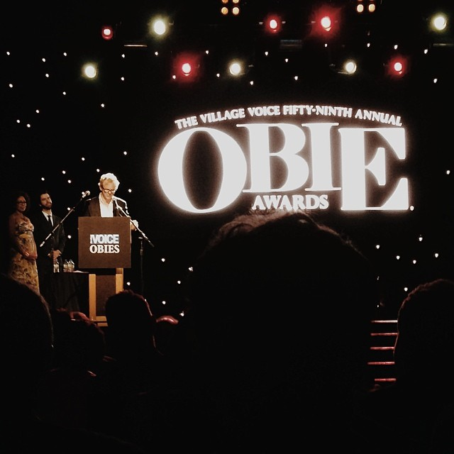 Justin Townsend (#MrBurnsPlay) wins an Obie award for Sustained Excellence in Lighting! #ObieAwards