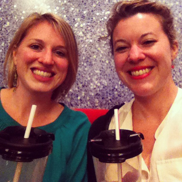 Sisters with sippy cups watching singing #flybynightph @phnyc