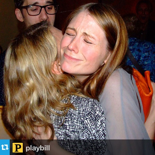 The cutest candid of @celiakb giving @allisoncase a congratulatory hug last night at  #flybynightph opening night. (via @playbill) #regram