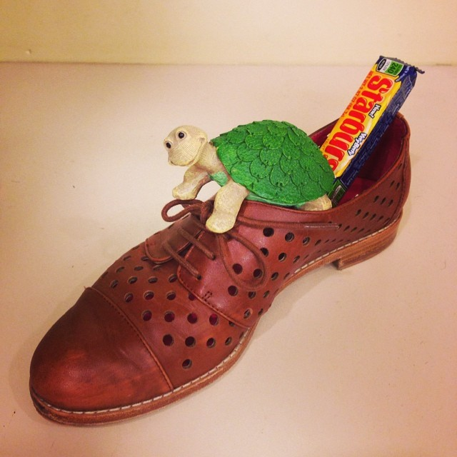 There's a turtle in my shoe. Just in time for #flybynightph opening!!! I love you @pattimurin :)