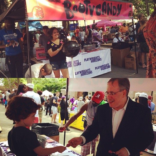 Giving NYC Comptroller @scottmstringer a taste of #Bootycandy today at #HarlemPride. Find us tomorrow at #NYCPride!