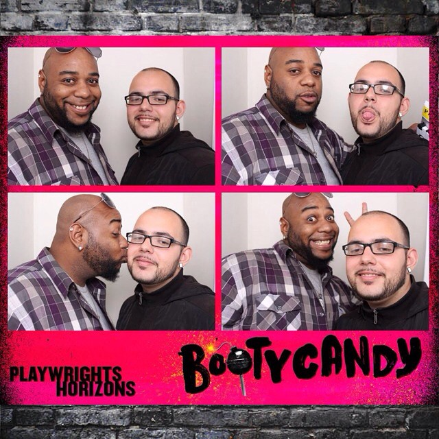 Playing in the BootyCandy Photobooth after the show. Say CHHHEEESSEE! \u2014 Clowning about with @prince_libra_90  #teammnm #teamkingaries79 #teampriderings1 #teamprincelibra #bootycandy #phnyc