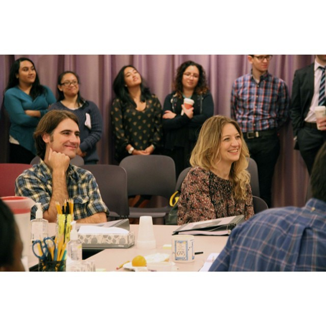 @heidischreck and @kipfagan, all smiles today at #GrandConcoursePH first rehearsal.