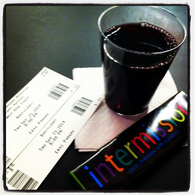 Chocolate, wine & #Bootycandy with the husband. #hotdate #theatre #nyc