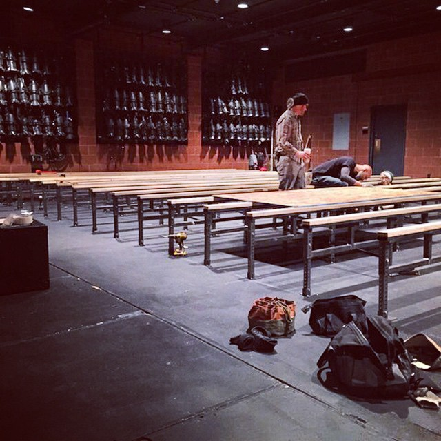 The Peter Jay Sharp Theater is going green! While installing a new floor for #IowaPH, instead of a throwaway wood frame, our awesome production department has developed a reusable adjustable height steel support system.