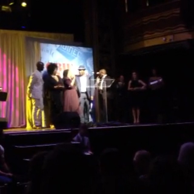 An amazing night at @obieawards! Robert O'Hara and the cast of #Bootycandy accepting their #Obies Special Citation. \nCongrats to them, as well as Japhy Weidman (#Bootycandy lighting design) for Sustained Excellence in Lighting Design, @aprilmatthis (#IowaPH) for Sustained Excellence in Performance, and Anne Kauffman for Sustained Excellence in Direction.