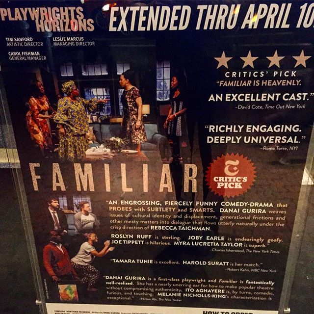 The Extraordinarily Familiar\n\nClosing soon! See it before it closes!\n\nFrontmezzjunkies.com posted a blog review of: #DanaiGurira 's\n#FamiliarPH - @phnyc \nhttp://frontmezzjunkies.com/2016/03/27/the-extraordinary-familiar/\n\ncheck it out, and let me know what you think.\n\nyou can also check out my previous blog review of: @eclipsedbway also written by #DanaiGurira\n\nhttp://frontmezzjunkies.com/2016/03/06/eclipsed-a-youthful-tough-ride/\n\nread, like, share, retweet, enjoy.\n\ntw: frontmezzjunkie\nFB: Frontmezzjunkies