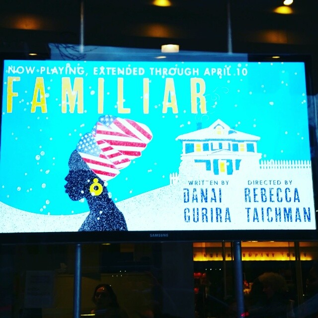 Kickoff to a weekend of theater. #FamiliarPH #DanaiGurira #PlaywrightsHorizons (w/@ceslavik)