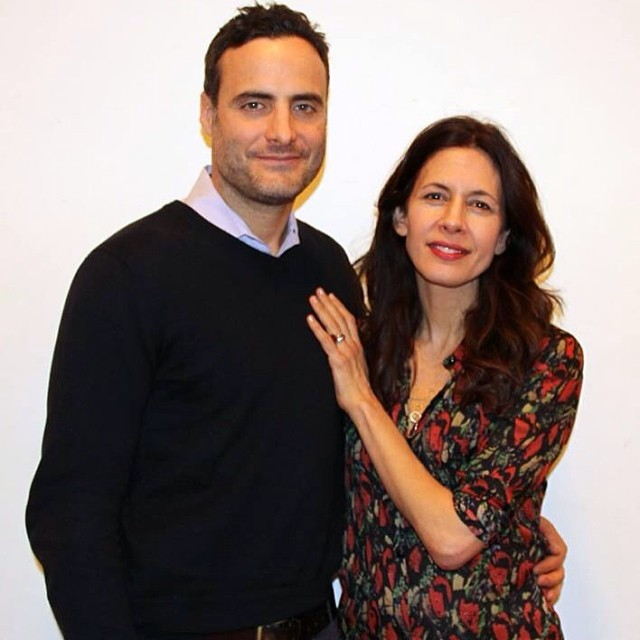 First rehearsal for #StageKiss! Featuring the talented Dominic Fumusa and Jessica Hecht.