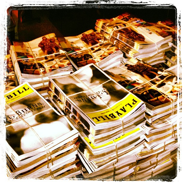 Happiness is stacks and stacks of un-put-away #mrburnsplay Playbills