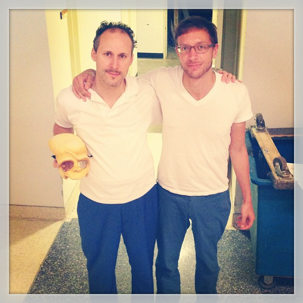 Homer and composer, dressed the same. One by design, the other... Happy birthday, Michael Friedman! #mrburnsplay