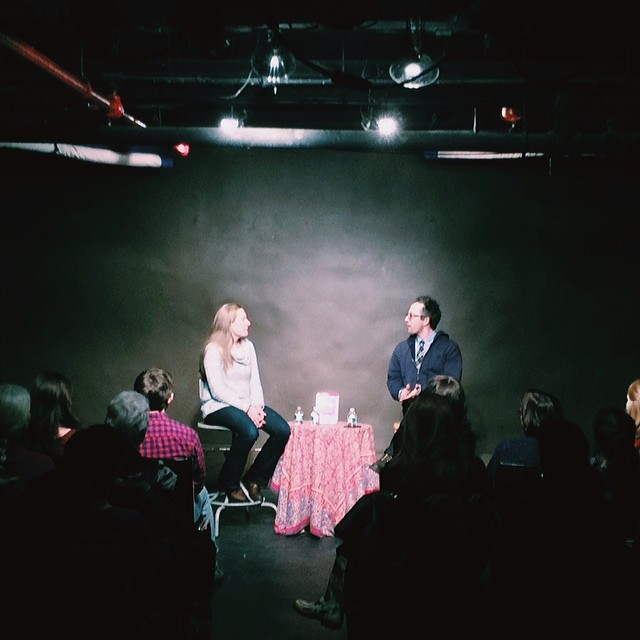 Sarah Ruhl and Adam Greenfield talking #StageKiss at Drama Book Shop.