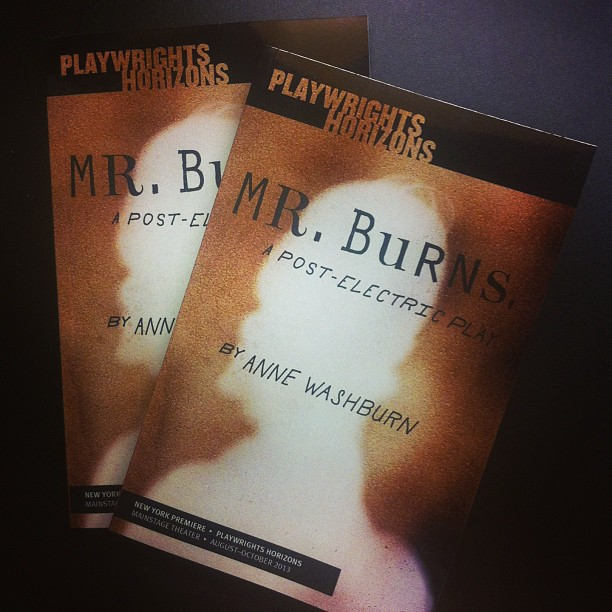 Hot off the press, #MrBurnsPlay preview edition scripts. Grab one when you stop by! Online sales coming soon.