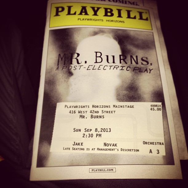 #todaysbill: #MrBurnsPlay. Very excited for this one, something totally new and original. #newplay